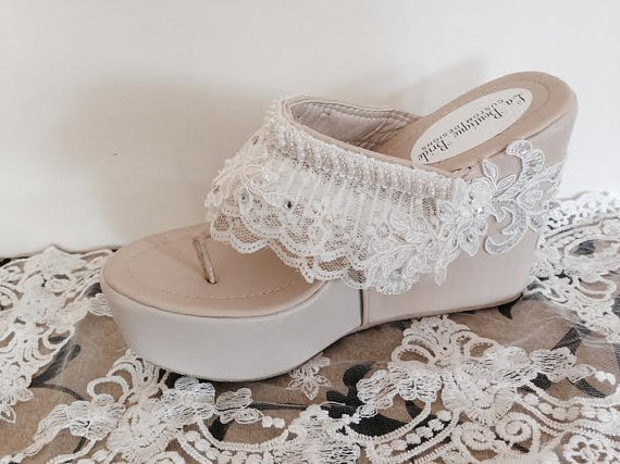 Destination Beach Wedding Wedge Ivory Beaded Lace Flip Flop Bride